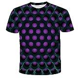 Qier Camisetas Hombre Camiseta Holgada Informal De Manga Corta con Gráfico 3D, Cuadrícula Abstracta, Morado, 3XL