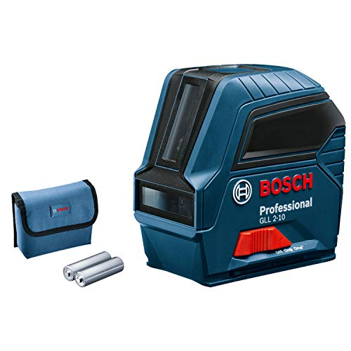 Bosch Professional Laser Level GLL 2-10 (red laser, interior, Working Range: 10 m, 3x Batteries AA, Protective Bag)
