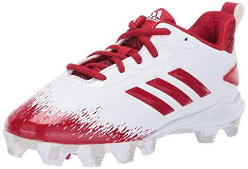 adidas Unisex-Kid's Adizero Afterburner V Baseball Shoe, White/Power red/Grey, 1.5 M US Little Kid