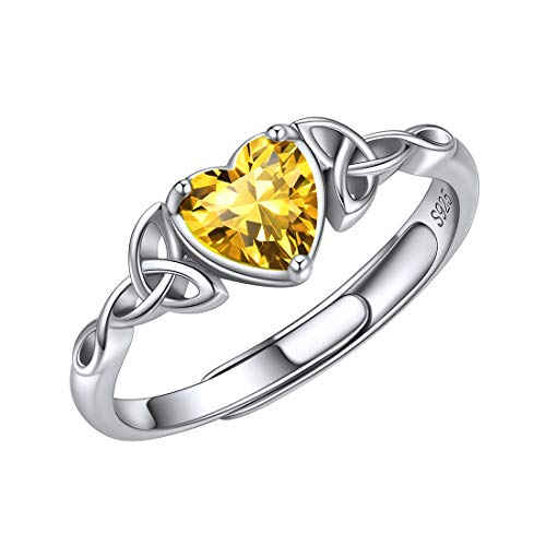 ChicSilver 925 Sterling Silver Celtic Rings for Women Yellow Topaz November Birthstone Heart Cubic Zirconia Ring for Mother Wife Girlfriend