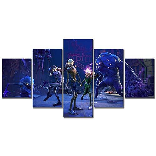 wangdazhuang 5 Lienzos Cuadros Grandesdisparo De Imágenes De Zombies Lienzo Impresión Cuadros Decoracion para Dormitorios Modernos Mural Pared Tamaño del Marco 80X150Cm XXL