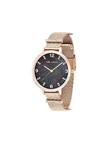 Julie Julsen Reloj de pulsera de cuarzo para mujer de acero inoxidable con correa de acero inoxidable en color oro rosado – Charming Pearl – JJW1231RGME-38