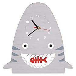 N /A Wall Clock Wood Shark Pendulum Wall Clock Wall Decor for Baby Nursery Kids Bedroom Nautical Nursery Modern Nursery Wooden Clock Shark Gift