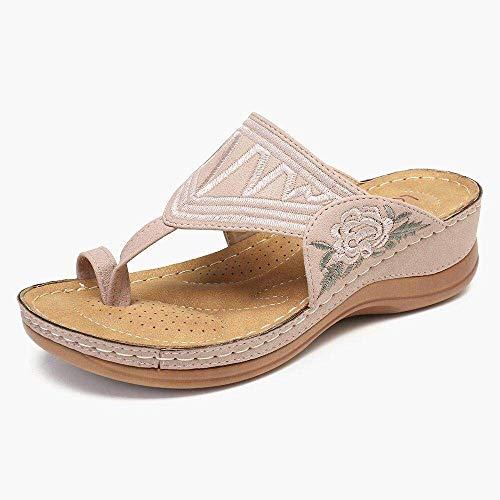 Liuchang deslizador antideslizante ducha, chanclas, aumentar las zapatillas bordadas-Rosa_37, zapatillas de playa a prueba de agua liuchang20