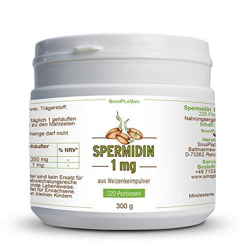 Spermidin 1 mg Pulver aus Weizenkeimen || 300 g || 220 Portionen || hochdosiert || aus deutschem Weizen || SinoPlaSan