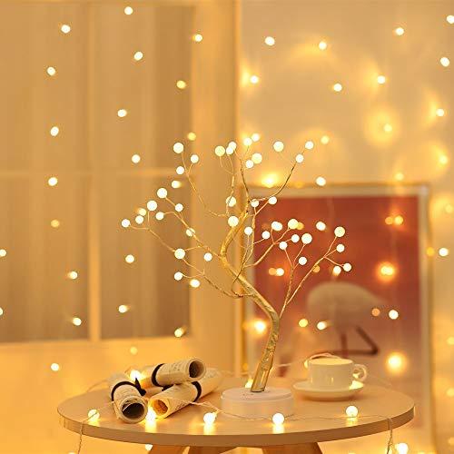 GARNECK Luce Notturna a LED a Forma di Albero Alimentato a Batteria Alimentato Tramite USB Rami Regolabili Lampada da Tavolo Romantica Luce Modellante per La Decorazione Domestica