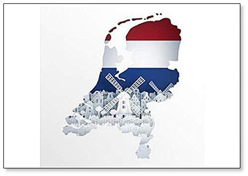 Holland Map Concept Met Hollandse Windmolen Abstract Illustratie - Klassieke Koelkast Magneet