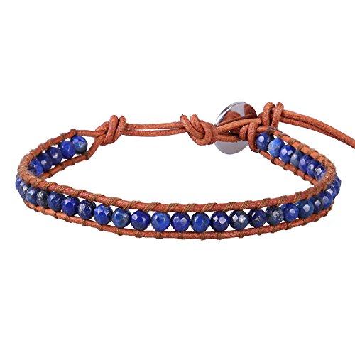 KELITCH Wickeln Armbänder Charms Personalisiert Zum Männer Frau Blau Lapis Lazuli Perlen Beige Leder Armband