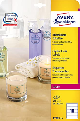 AVERY Zweckform L7783-25 transparente Etiketten (250 Klebeetiketten, 96x50,8mm auf A4, Aufkleber zum Bedrucken, selbstklebend, wetterfest, Beschriftungen/Produktaufkleber) 25 Blatt, durchsichtig