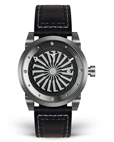 ZINVO Blade Luxury Men's Watch - Signature 44mm Automatic Wrist Watch with Turbine Style Dial and Premium Italian Leather Band - Gunmetal