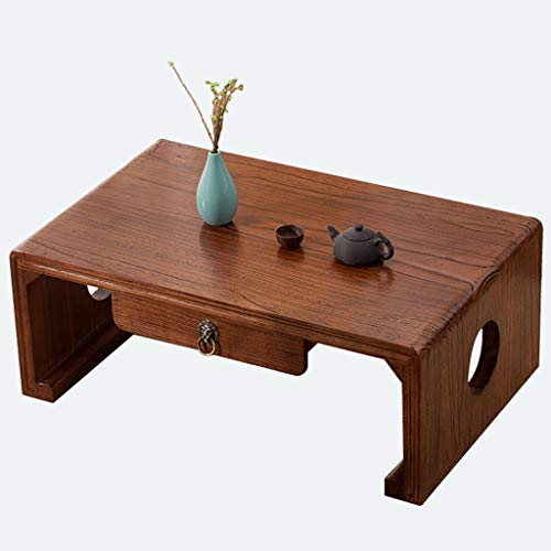 Chi Cheng Fang Electronic business Tatami Coffee Table Solid Wood Coffee Table Bay Window Table With Drawers Simple Low Table Creative Furniture (Color : Brown, Size : 60 * 40 * 30cm)