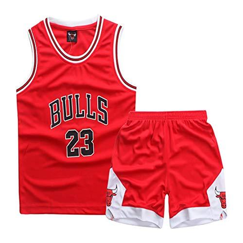 FDSEW Sudadera de Uniforme de Baloncesto para Estudiantes, Conjunto de Camiseta y pantalón Corto de Rendimiento de Baloncesto Chicago Bulls 23, Camisa de Baloncesto para niños-Red-L