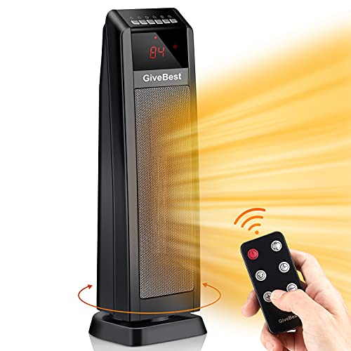 """Space Heater Indoor Use, 24"""" 1500W Electric Portable Heater, Ceramic Heater with Thermostat, Remote, Timer, Oscillation, Overheat & Tip-Over Protection, Electric Heater for Large Room Office Bedroom"""