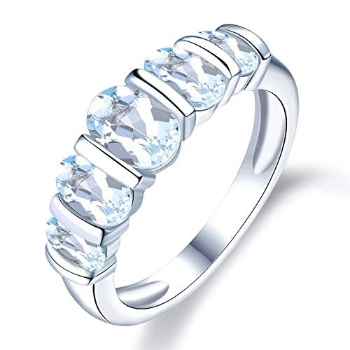Hutang Jewelry - Sterling-Silber 925 Oval Blue Aquamarin