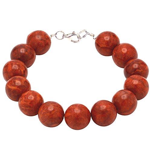 Armband aus Koralle Schaumkoralle Kugel 14mm & 925 Silber Korallenarmband rot dunkelrot glatt
