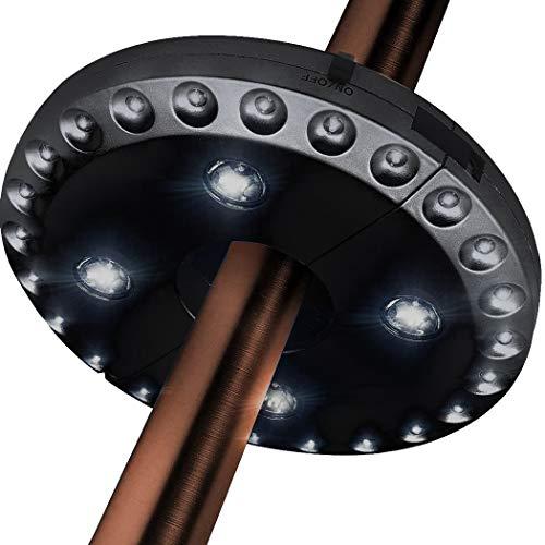 Kabellose 28 LED Regenschirm-Lichter 3 Stufen dimmbar Sonnenschirm LED Licht Regenschirm Stange Terrasse Zelte Beleuchtung Reines weißes Licht Campingplatz Hängelampe (Schwarz)