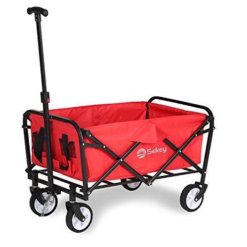 Sekey Mini Bollerwagen Faltbarer Bollerwagen Faltwagen Handwagen, Outdoor Wagen mit Bremsen und Teleskopgriff, Rot…