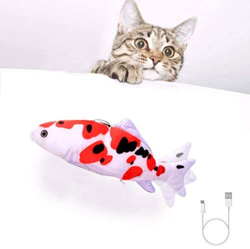 HUANGHUANG katzenspielzeug Flippity Fish– katzenspielzeug Elektrisch – wiederaufladbar mit USB Kabel - Fisch Spielzeug füR Katze Zum Spielen,BeißEn,Kauen Und Treten, Interaktives Spielzeug für Katzen…