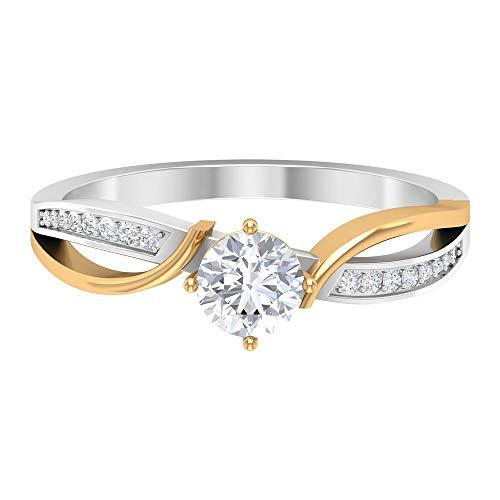 Anillo de compromiso antiguo, anillo de boda en espiral, anillo de diamante vintage HI-SI de 0,58 ct, anillo de solitario lateral, 14K Oro amarillo, Diamante, Size:EU 54