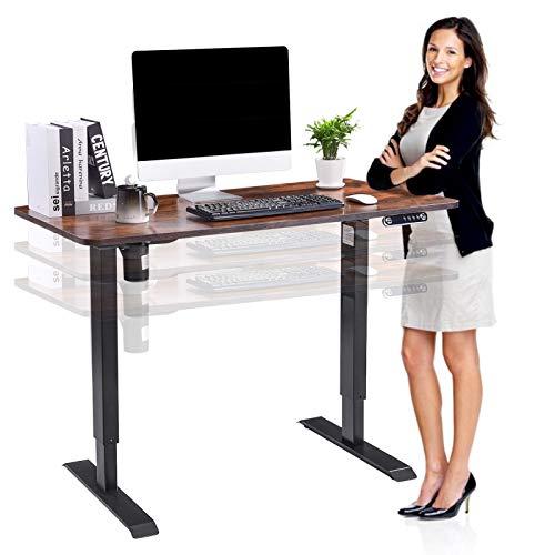 Höhenverstellbarer Schreibtisch Elektrisch, 140x60cm, Ergonomischer Steh-Sitz-Schreibtisch Mit Memory Steuerung, Max Belastung bis 80kg (Rustikales Braun)