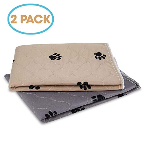"""JT Pet Potty Dog Training Puppy Pads Washable Reusable Waterproof Pee Pads Guinea Pig Cage Hamster Bedding Extra Large Dog Crate Lining (Set of 2 - XL 36"""" x 24"""")(Paw Print Brown and Grey) Categories"""