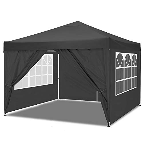 HOTEEL Canopy with Sides Pop Up Gazebo with Sides 10x10 Waterproof Gazebo Outdoor Garden Shelter, Heavy Duty, Choice of Colours, PVC Coated, Travel Bag and 4 Side Panels (10x10ft, Black)
