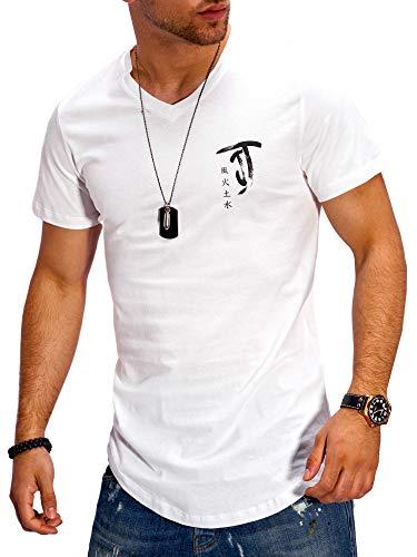 Jack & Jones T-Shirt Homme Col en V Imprimé Manches Courtes Tendance Décontracté Streetwear (XXL, Cloud Dancer)
