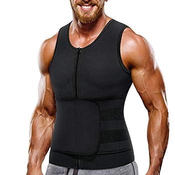 Wonderience Neoprene Sauna Suit for Men Waist Trainer Vest Zipper Body Shaper with Adjustable Velcro Tank Top  Black XXX-Large