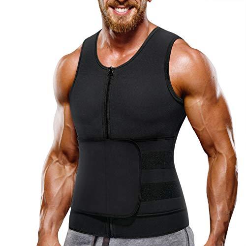Wonderience Neoprene Sauna Suit for Men Waist Trainer Vest Zipper Body Shaper with Adjustable Belt Tank Top (Black, Large)