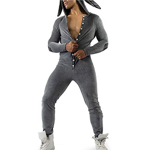 Men's One Piece Hooded Jumpsuit Zip Up Tracksuit Romper Overall Pajamas Sportswear (Dark gray-Rabbit ears, M)
