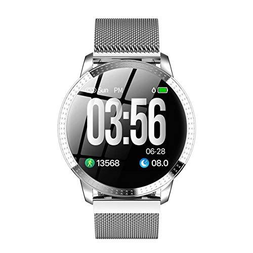Oyznsb Smartwatch Smartwatch armband voor dames en heren, waterdicht, Zilver.