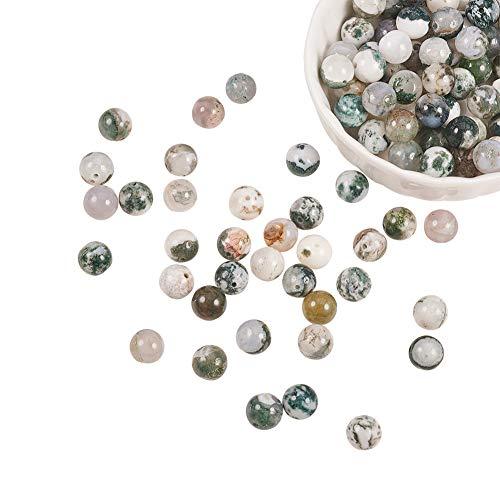 NBEADS 1 hebra Incluye 120 Piezas de 8 mm de Ágata Natural de Piedras Preciosas Redondas Cuentas de Piedra Sueltas con Orificio de 1 mm para Pulseras de Bricolaje Collares Fabricación de Joyas