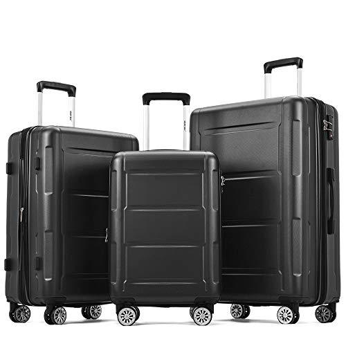 jeerbly Juego de maletas de mano (3 piezas) con candado TSA, asa telescópica y 4 ruedas, color negro, M/L/XL)