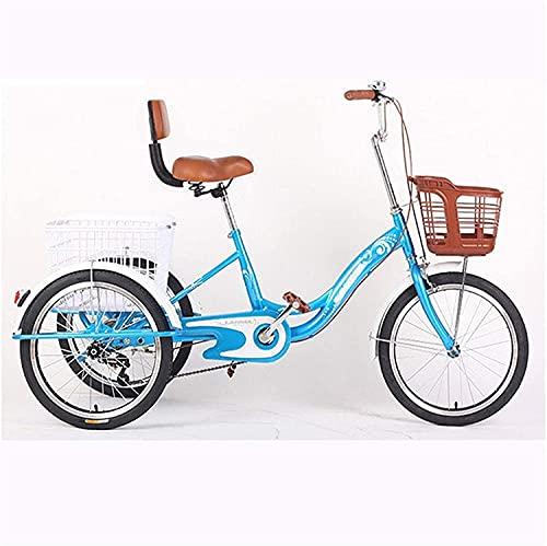 SN Triciclo Adulto 3 Ruedas Trike Crucero Bicicleta Sola Velocidad 20 Pulgadas Tres Ruedas con Respaldo Y Canasta De Carga para Personas Mayores Hombres (Color : Blue)