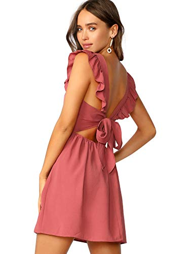 Romwe Women's Cute Tie Back Ruffle Strap A Line Fit and Flare Flowy Short Dress Brick-red M