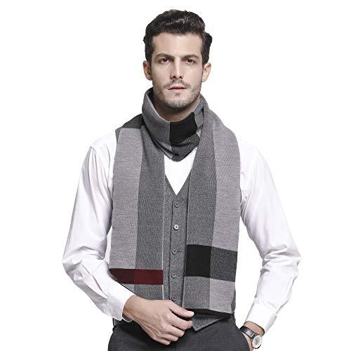 RIONA Herren Winter-Kaschmir-Gefühl Australian Wool Weicher Warmer Strickschal einheitsgröße 8107_Schwarz grau