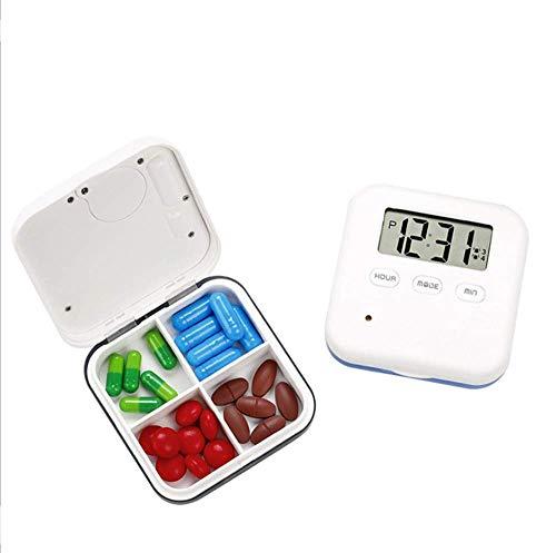 Hangang Pastillero de alarma inteligente con 4 cajas dispensadoras, recordatorio de vibración,vitaminas/píldoras diarias, recordatorio de medicinas, caja con pantalla digital(Gris)