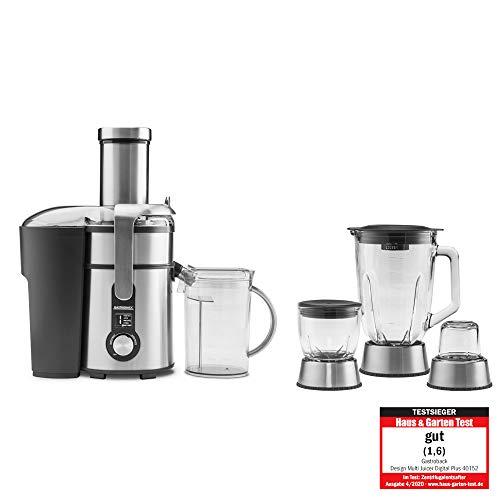 GASTROBACK #40152 Design Multi Juicer Digital Plus, 4 in 1: Zentrifugal-Entsafter, Standmixer, Schnellzerkleinerer und Kaffeemühle,1300 Watt, 5-Stufen