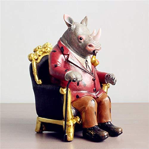 SryWj Rétro Fumer Rhinocéros Décoration Ornements Mignons Cadeaux Accessoires pour La Maison des Pays Créatifs pour Enfants