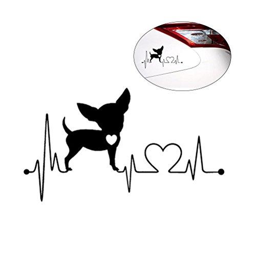 VOSAREA Etiqueta engomada Decorativa Impermeable del Coche del Vinilo de la Etiqueta del Perro de Chihuahua del Latido del corazón Impermeable (Negro)