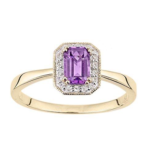 Naava Women's 9ct Yellow Gold Diamond and Amethyst Gemstone Rectangle Cut Ring - Size L