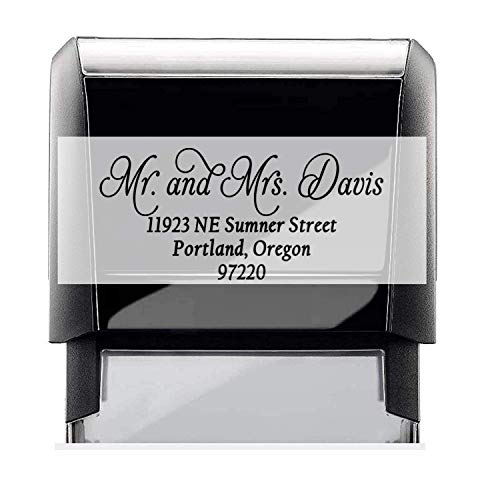 Customized Stamp Self-Inking Return Address Mail 4 Lines. Personalized Gift. . Perfect Size for Mail Envelopes. Color Variations via Customization - 5 Ink Options
