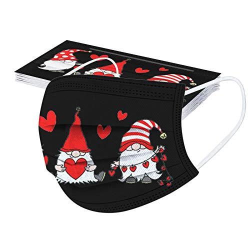 GJKK 10Stück Einmal-Mundschutz Weihnachten Erwachsene Mundschutz mit Weihnachten Wichtel Motiv Mund Nasenschutz 3 Lagig Atmungsaktiv Weihnachten Schneeflocke Bandana Halstuch (10PC, 10PC)