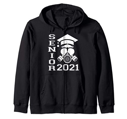 Senior 2021 Face Mask Quarantined Class of 2021 Zip Hoodie