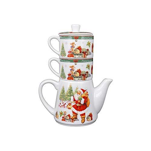 Set Natalizio Teiera con Tazze in Ceramica, 11 x 8.5 x 8.5 cm,età 3+