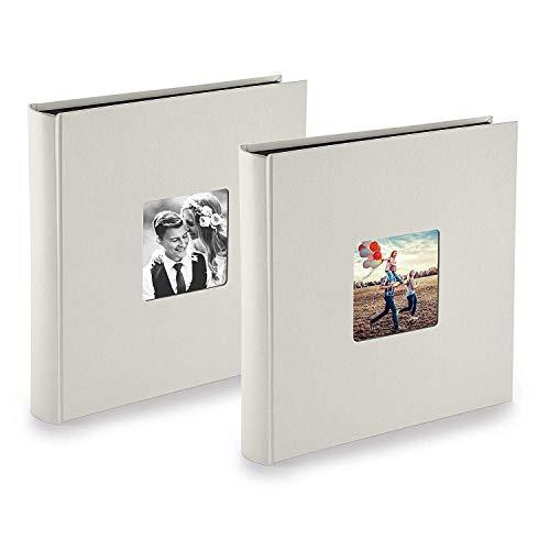 PAZZiMO Álbum de fotos para pegar de color tiza para 400 fotos, álbum de fotos 30x30 cm con papel de pergamino, álbum fotos 10x15 con ventana en la portada, pack de 2