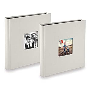 PAZZiMO Álbum de fotos para pegar gris tiza, pack de 2, álbum de fotos 30x30 cm XXL para 400 fotos, con papel de pergamino, álbum fotos 10x15 con ventana en la portada