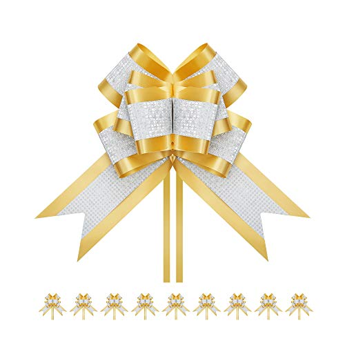 PACKHOME 10 Extra Large Gift Bows, 7.5 inches, Pull Ribbons and Bows for Gifts, Gift Wrap Bows for Decorating Presents Gold