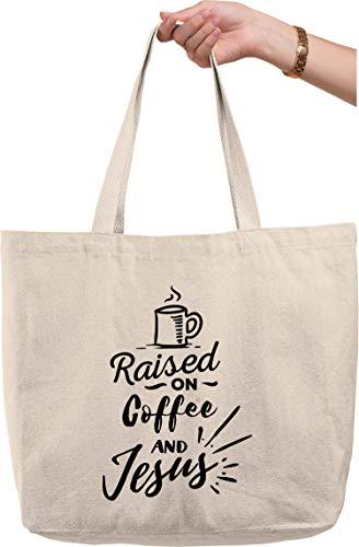 Raised On Coffee And Jesus Caffeine Christian Savior Bible natural canvas tote bag funny gift