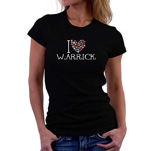 Teeburon I Love Warrick Colorful Hearts Maglietta Donna